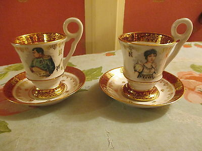 2 tasses porcelaine bon etat decor napoleon