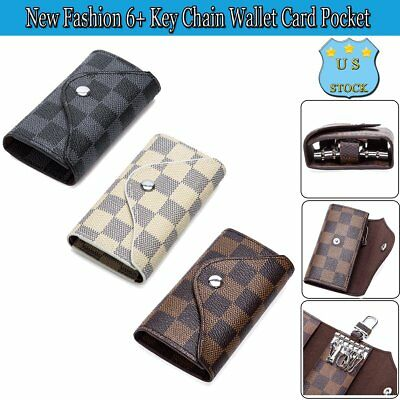 New Fashion 6+ Key Chain Wallet Case Card Pocket Classic Checkered Carrying Bag