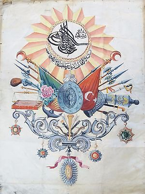 OTTOMAN EMPIRE COAT OF ARMS ABDUL HAMID SILK PAINTED  19c OSMANLI DEVELT ARMASI
