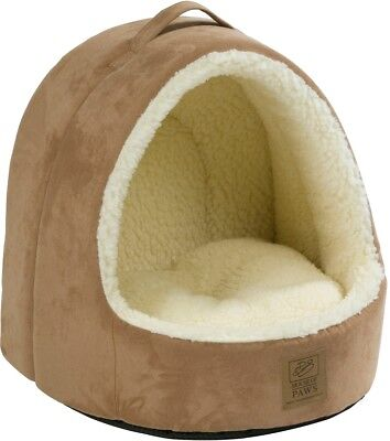 House Of Paws Hooded Faux Suede and Faux Sheepskin Cat Bed Pet Accessories