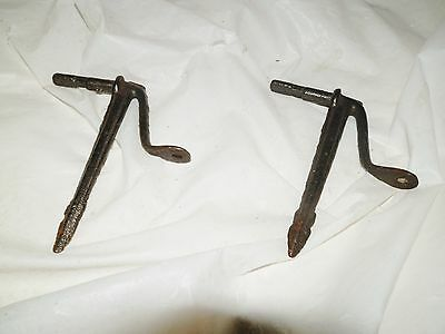 (2) Old ANTIQUE  METAL WROUGHT IRON STEEL SHELF BRACKETS AS PICTURED