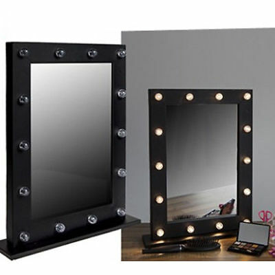 Light Up Dressing Table Mirror LED Bulbs Make Up Vanity Holywood Style Wooden