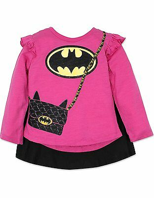 Toddler Batgirl Shirt with Cape Long Sleeves, Pink