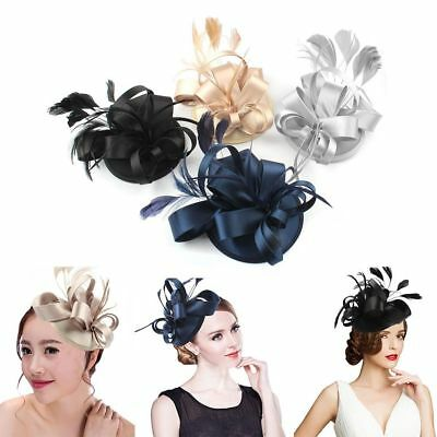 Prom Lady Girl Feather Satin Fascinator Hair Clip Cocktail Hat Church Wedding