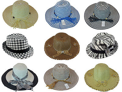 Wholesale Lot of 50 Assorted Floppy Fedora Hats Strip Zebra, Checkered Pattern