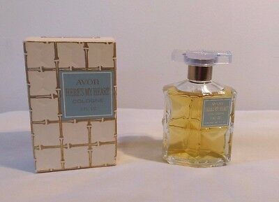 Vintage Avon Here's My Heart Cologne 1 oz. Full with Box