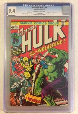 INCREDIBLE HULK #181 - CGC 9.4 NM (1st Full App of Wolverine; OW - White Pages)