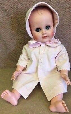 """Vintage EEGEE DOLL- 1950s VINYL 19 1/2"""" tall with 2 homemade outfits EUC"""