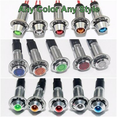 Any Style or Color 8mm 12 volt LED Prewired Pilot Dash Indicator Light US Seller