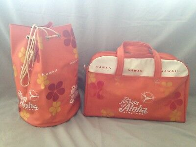 2 Vintage 1960's The Funbirds of Aloha Airlines Travel Bag Flight Bag Carry on
