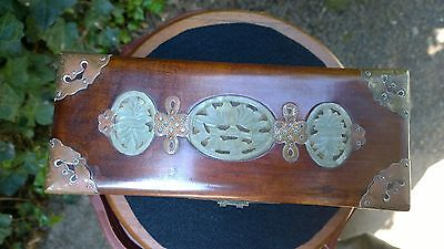 Carved Jade Inlayed Rosewood Jewelry Box w/Brass Mounts w/ Red Brocade Lining.