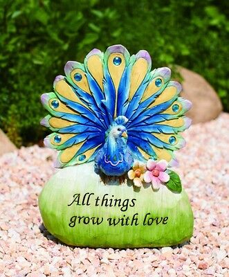 """Beautiful peacock bird All things grow with love garden decoraction 9.75"""" p4375"""