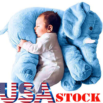 Blue Elephant Pillow XL Cushion Stuffed Doll Toy Baby Kids Soft Plush from USA 1
