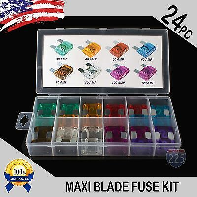 24 Pack Large MAXI / APX Blade Fuse Assortment Auto Car Truck SUV AMP FUSES Kit