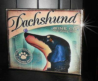 French Country Dachshund Terrier Vinwyard  Wine Lover Stretched Canvas Dog