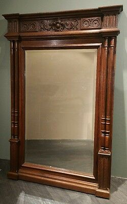 Huge Late Victorian 1800s Era French Mantle Mirro