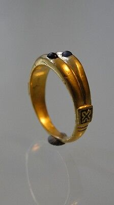 Medieval GOLD Ring with 2 stones 13th-15th C. !!!!!