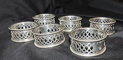 Lovely Set Of 6 Silver / Plated And Pierced Napkin Rings - Numbered