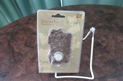 New Figi  Hand Cast in Sold Brass Illuminated Doorbell Cover DC ST 120  LILY