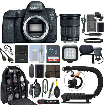 Canon EOS 6D Mark II DSLR Camera with 24-105mm IS STM Lens + 64GB Pro Video Kit