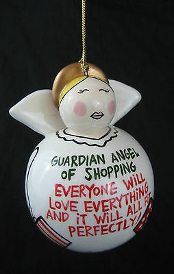 Our Name is Mud Guardian Angel of Shopping Glass Hand Painted Tree Ornament