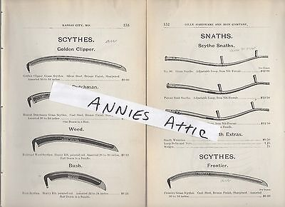 1898 ad antique SCYTHES & SNATHS wooden handle replacement parts scythe snath