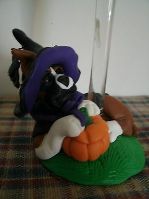 Boxer Dog Statue Halloween Candle with Witch Hat and Pumpkin