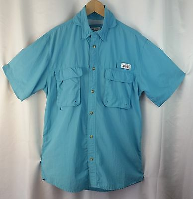 World Wide Sportsman M Men's Vented Nylon Fishing Shirt Short Sleeves Aqua Blue