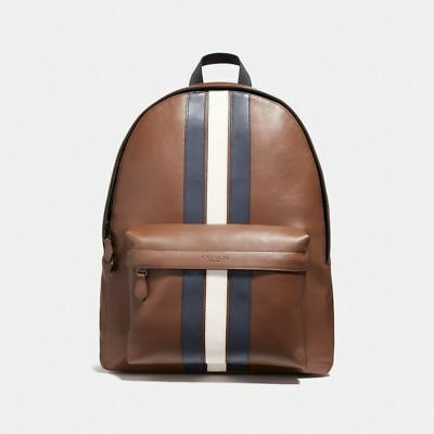 New Coach F72237 Mens Charles Backpack In Varsity Leather Dark Saddle Midnight