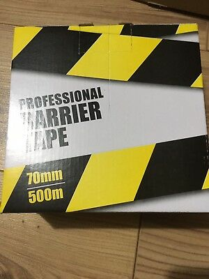 Professional Barrier Tape 70Mm X 500M Black/yellow.
