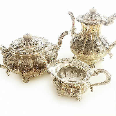 Melon Shapped English Coffee and Tea Set with Creamer - maker unknown