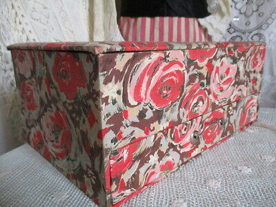 Antique Vintage French Fabric Covered Boudoir Box, with drawer. Large
