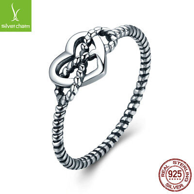 Authentic 925 silver Ring With Love Twisting Rope & Ribbon Vintage Ring Jewelry