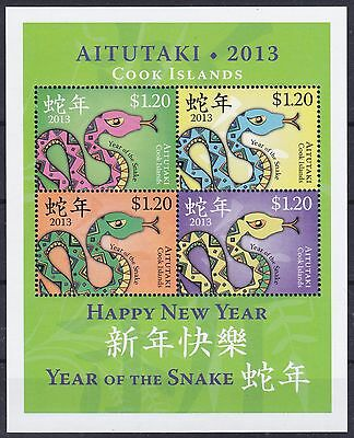 Aitutaki Block 93 **, Chines. Jahr der Schlange / Year Of The Snake
