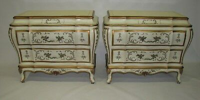 PAIR Karges French Bombe Louis XV Style Nightstands; Custom Handpainted Details
