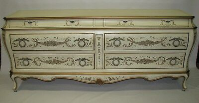 Elegant Karges French Bombe Louis XV Style Dresser; Handpainted Details