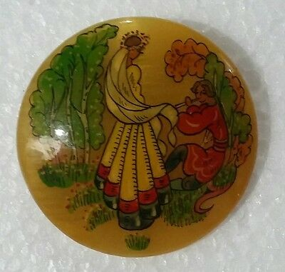 Vintage Hand Painted Russian Laquered Brooch