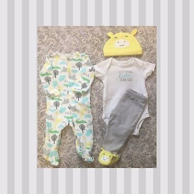 Carters Boy/Girl 3 Months 4 Piece Set 💛 Adorable 🐘