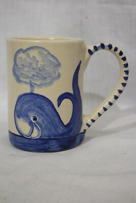 "RARE Vintage DORCHESTER POTTERY Hand Painted Blue WHALE 4.5"" Tall Coffee Mug Cup"