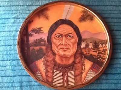 "Vintage 11"" Native American Indian Sitting Bull Tin Tray Mint"