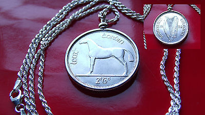 "Mint State Gem 1928 IRISH Horse Half Crown Pendant w 30"" 925 Silver Rope Chain"