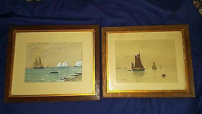 Two late 19th century watercolours - one of Isle of Wight - Framed - signed