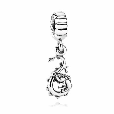 Authentic Pandora Sterling Silver Dragon Dangle Charm #790991 **RETIRED**