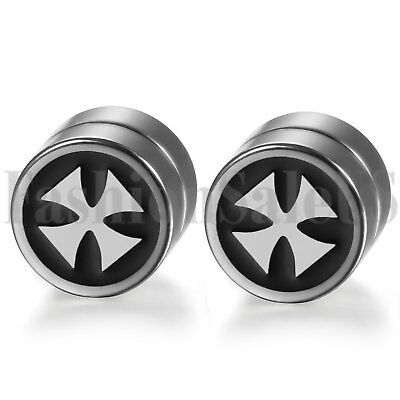 1 Pair Mens Women Cross Non Piercing Ear Stud Clip On Round Magnetic Earrings