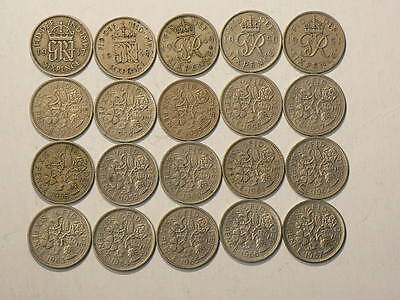 Great Britain, Lot Of 20 Six 6 Pence Coins 1947 to 1967  #G6705
