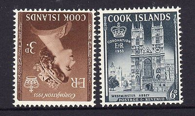 Pre Decimal, Cook Islands, Pacific, 1953 QEII Coronation, 3d & 6d,MUH,#1080