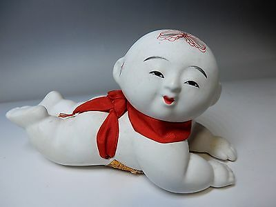 Rare Japanese Antique Kyoto Gosho Gofun Kyo-style Ceramic Child Doll  23cm 9""