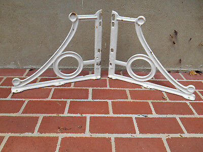 Pair Antique Cast Iron Porcelain White Sink Brackets Supports Ornate Salvage