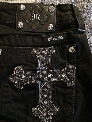 Miss Me Jeans Signature Rise Straight Size 31 X 31 Jeweled Cross