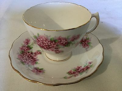 Royal Vale Bone China Cup And Saucer England    White/ Pink Blossoms